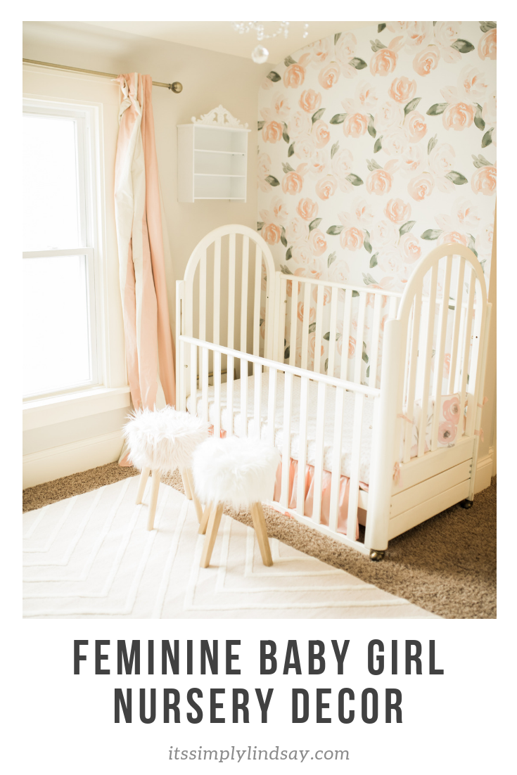 Feminine baby girl nursery decor